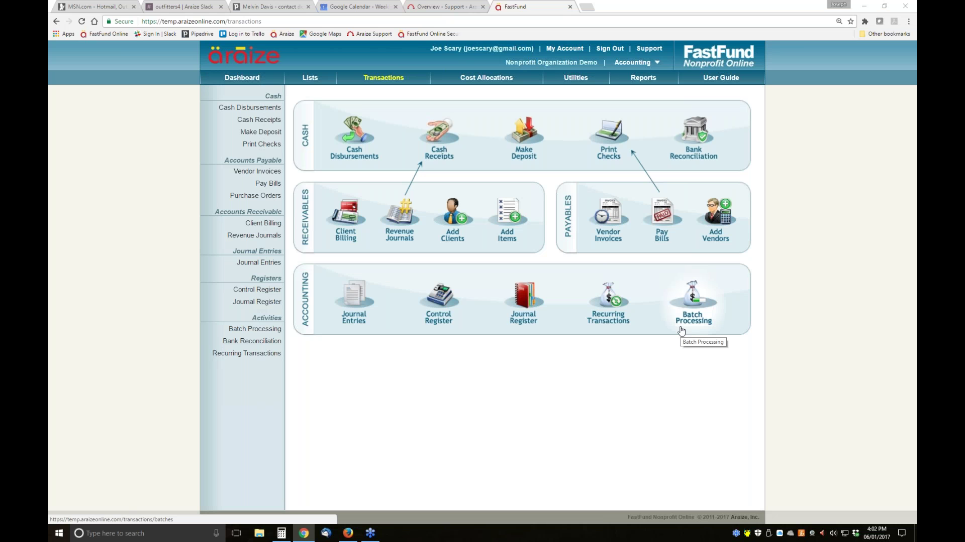 Araize FastFund Online GoToStagecom - Harmon solutions group online invoicing